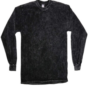 Black Vintage Mineral Wash Long Sleeve Shirts