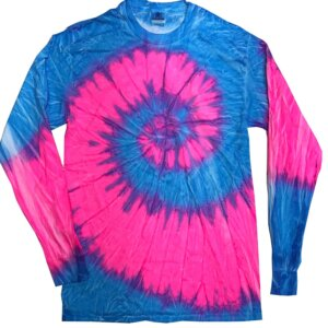 Bright Blue Pink Tie-Dye Long Sleeve Shirts Kids