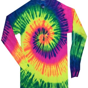 Neon Rainbow Tie-Dye Long Sleeve Shirts