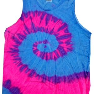 Blue Pink Tie-Dye Tank Tops Adult