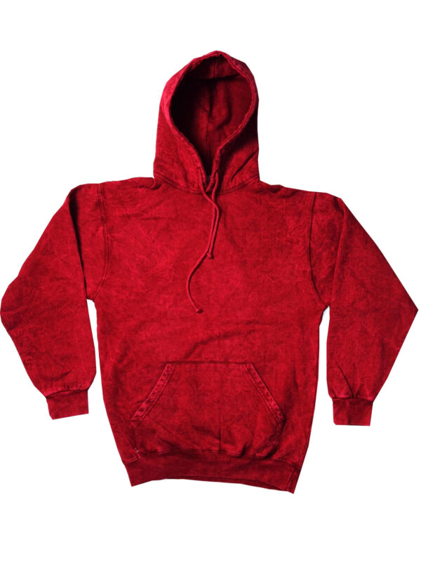 Red Vintage Mineral Wash Hoodies Adult