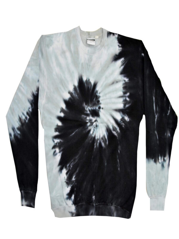 Black Grey Tie-Dye Crew Neck Sweatshirt